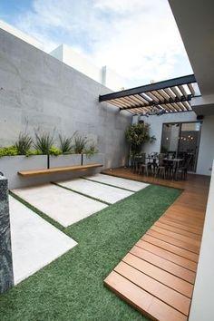 Moderner balkon, veranda & terrasse von tamen arquitectura trendy - Garden Tips Modern Front Yard, Modern Balcony, Modern Patio, Garden Modern, Contemporary Landscape, Backyard Patio Designs, Small Backyard Landscaping, Landscaping Ideas, Patio Ideas