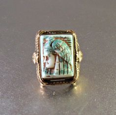 Max Neiger Pharaoh Ring Art Deco Egyptian by LynnHislopJewels