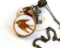Bird Necklace, Swallow Necklace, Bird jewelry, Beaded Rustic Necklace, Woodland Wedding, Bird Pendant by MayaHoney