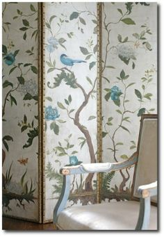 Aviary screen with Gustavian style chair