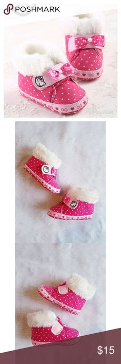 NAME YOUR PRICE! 🎉HP🎉 Toddler Hello Kitty Boots Adorable Hello Kitty toddler girls faux fur booties. Pink with white polka dots. Cute bow detail. Hello Kitty logo. Velcro closure. Size 5 (12-18 months). Great pre-owned condition. No visible flaws.  Host Pick - 11/26 - Everything Kids - Special thanks to @vik_rod ❤ Shoes Boots