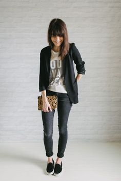 jeans blazer Office Outfits, Mode Outfits, Casual Outfits, Fashion Outfits, Womens Fashion, Sneakers Fashion, Casual Blazer, Party Outfits, Sneakers Women