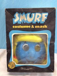 Rare Vintage 1982 Ben Cooper SMURFETTE Halloween Mask & Costume in Box Medium   eBay
