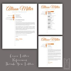 Resume Template and Cover Letter Template by MYPAPERPIG on Etsy Thank You Letter Template, Cover Letter Template, Page Template, Modern Resume Template, Creative Resume Templates, Resume Writing Tips, References Page, Social Media Icons, Professional Resume