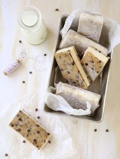 these chocolate chip cookie dough ice cream sandwiches look like the perfect cold treat!