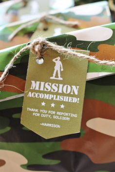 Favor bag tag from a Military Toy Soldier Birthday Party on Kara's Party Ideas | KarasPartyIdeas.com (13)