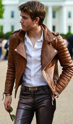Tan Leather Jacket With White Shirt