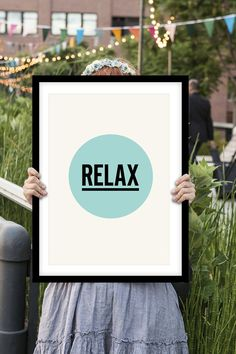"Typography Art ""Relax"" Wall Art Inspirational Quote Print Typographic Print"