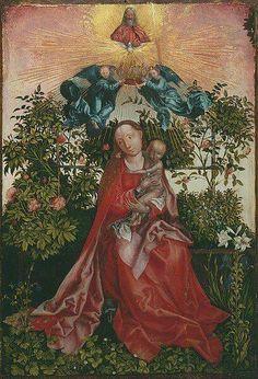 Copia cinquecentesca della Madonna delle Rose di Schongauer, che mostra com'era prima che fosse tagliata.