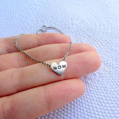 Sterling silver Heart chain Bracelet  Mothers day by lunahoo, $25.00