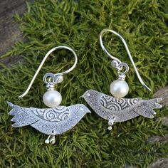 FEB 2012, Wales - Dove, silver and pearl earrings, by Deborah Jones Jewellery (St. David was always depicted with a white dove on his shoulder.)