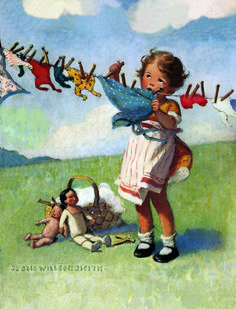 Jessie Wilcox Smith A little girl putting her dolls' clothes to dry on a clothline in the wind.