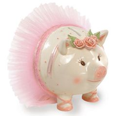 White piggy bank with pink polka dots Pink tutu and handmade roses Piggy wears pink ballet slippers Mud Pie Baby has everything you need for your tiny dancer Measures x Keepsake Baby Gifts, Personalized Baby Gifts, Baby Girl Gifts, Baby Piggy Banks, Pig Bank, Shabby Chic, This Little Piggy, Tiny Dancer, Cupcakes