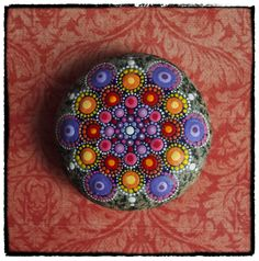 Jewel Drop Mandala Painted Stone Sunset Harmony by ElspethMcLean, $55.00