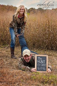 Camo the hunt is over save the date engagement session
