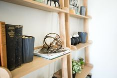 Wooden ladder shelves with old books and greenery ideal for bedroom Wooden Ladder Shelf, Ladder Shelves, Floating Shelves, Put Together, Are You Happy, Greenery, Floor Plans, Bedroom, Books