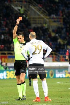 the referee shows a red card to Gabriel Paletta # 29 of AC Milan during the Serie A match between Bologna FC and AC Milan at Stadio Renato Dall'Ara on February 8, 2017 in Bologna, Italy.