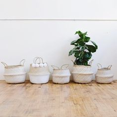Woven Weave Rice Belly Basket - White