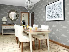 Berså II Green by Boråstapeter - Wallpaper : Brewers Home Harlequin Wallpaper, Geometric Wallpaper, Animal Wallpaper, Oriental, Osborne And Little, Morris Wallpapers, Dining Room, Dining Table, Cole And Son