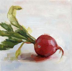 6x6 radish oil painting. kaliegravesart.com @kalie.graves.art