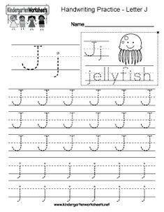 Free Letter J Writing Practice Worksheet Worksheets Handwriting Practice Worksheets, Alphabet Tracing Worksheets, Sight Word Worksheets, Alphabet Writing, Preschool Worksheets, English Worksheets For Kindergarten, Kindergarten Writing, Letter J, Italian Language