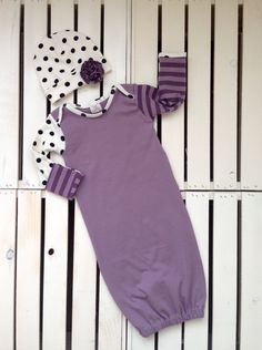 Baby Girl Gown in a Purple Color-Block style by BriBabyCouture Newborn Coming Home Outfit, Gowns For Girls, Baby G, Knot Headband, Cold Shoulder Dress, Beanie, Flower, Purple, Color