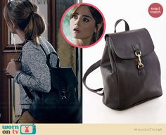 Clara's black leather backpack on Doctor Who.  Outfit Details: http://wornontv.net/39057/ #DoctorWho