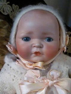 """Baby Kestner Century Doll 18""""_Adorable Expressive Face_Big Round Rosey from terisantiquesanddolls on Ruby Lane"""