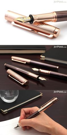 This exquisite fountain pen is made of solid sterling silver and adorned with a sensuous pairing of warm rose gold trim and a rich, chocolate-colored barrel. Its pinstriped cap and flat, angled top give the pen a look of modern sophistication, and its 18k gold nib provides an exquisitely smooth writing experience.
