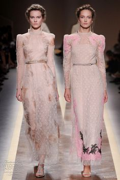 Something so feminine yet edgy about these Valentino gowns. Love the narrow belts.