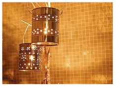 The Tin Can turns into ambiance makers Tin Can Art, Recycle Cans, Repurpose, Wall Lights, Ceiling Lights, Theme Noel, Mason Jar Lamp, Light Fixtures, Diy And Crafts
