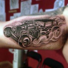 70 Hot Rod Tattoo Designs For Men - Automobile Aficionado Ideas Car Tattoos, Sleeve Tattoos, Tattoos For Guys, Tatoos, Hot Rod Tattoo, I Tattoo, Tattoo Flash, Flame Tattoos, Tattoo Designs For Women