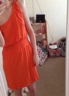 Buy here at #vinteduk http://www.vinted.co.uk/womens-clothing/casual-dresses/4407247-orange-one-shoulder-dress