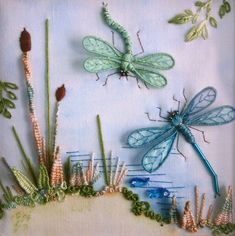 Stumpwork dragonflies-over-lake.jpg (1778×1785)  Pinterest de Cíça Mora