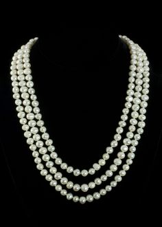 """Fresh Water Pearl Necklace  64"""""""" Fresh water pearl necklace. Long and beautiful. Wrap it several times to give it the layered multi strand look. No clasp   http://www.sterlingjewelrystores.com/product425.html"""