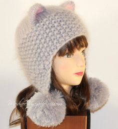 Шапочка  Кошка  для девочек спицами - Modnoe Vyazanie ru.com Вязаные  Головные Уборы b3cf49cd64409
