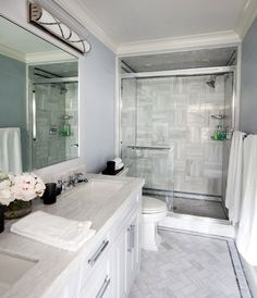 Morgan Harrison Home - bathrooms - Robert Abbey Chase Vanity Light, pale blue bathroom ceiling, blue bathroom ceilings, blue bathrooms, bath...