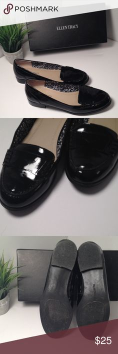 Ellen Tracy Black Patent Leather Loafers Ellen Tracy Black Patent Leather Loafers. Minimal wear with natural creasing and some wear on the bottom of the shoe. Size 8 1/2. Pair with some slacks and you're good to go! Ellen Tracy Shoes Flats & Loafers