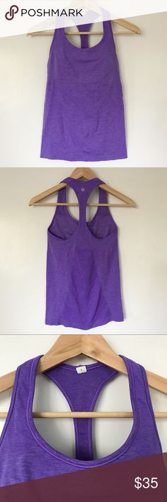 Lululemon Ebb and Flow Racerback Tank Top Pre-loved, Women's yoga, gym running tank top, seamless design, with shelf bra, pads not included, Power purple color. Please feel free to ask questions. No trades. lululemon athletica Tops Tank Tops