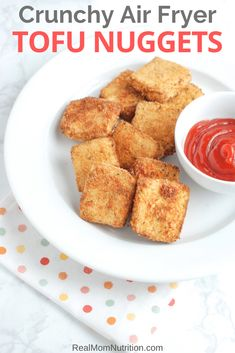 These crispy breaded tofu nuggets are crunchy, dunkable, and kid-friendly. They cook in the air fryer in just 15 minutes. Tofu Recipes, Vegan Recipes Easy, Vegetarian Recipes, Recipies, Crispy Tofu, Seasoned Bread Crumbs, Air Fryer Recipes Easy, Vegetarian Appetizers