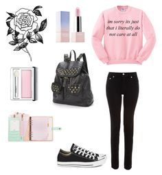 """I'm Sorry. It's Just That I Literally Do Not Care... At All"" by demonlover2002 ❤ liked on Polyvore featuring Clinique, Sephora Collection, Forever 21, BLK DNM, Mudd and Converse"