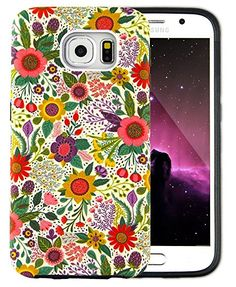 Galaxy S6 Case, Dimaka Daisy Floral Protective TPU+PC 2in1 Soft Interior drop Proof Cover with Dual Layer Protection Slim Trendy Design Flower Girly Print Pattern Hard Case for S6 Case (bush Flower)