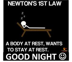 Newton's 1st law revised #Funny, #Law, #Newton, #Night, #Physics, #Sleep, #Sleeping