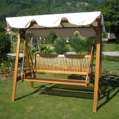 International Caravan SW-006-3-AF-CP Royal Tahiti 3 Seater Swing with A-Frame and Canopy in Dark Honey