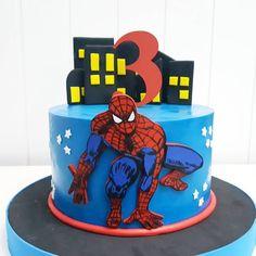 No photo description available. Spiderman Cake Topper, Spiderman Birthday Cake, Spiderman Theme, 3rd Birthday Cakes, Superhero Cake, Superhero Birthday Party, Boy Birthday Parties, Baby Boy Cakes, Cakes For Boys