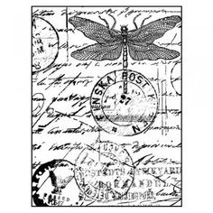 Dragonfly Post' individual collage style, unmounted red rubber stamp