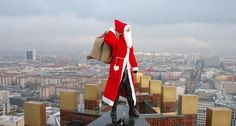 Santa ditches chimney and scales skyscraper to deliver presents to Berlin children