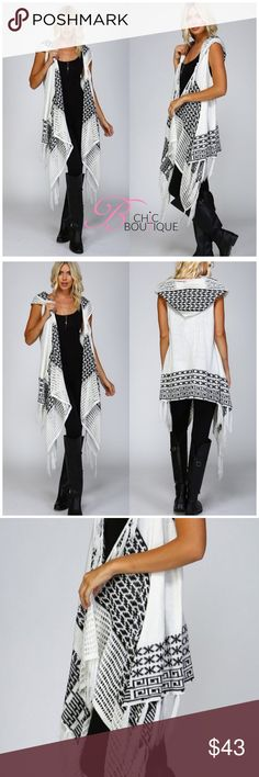 """🌟ONLY 2 LEFT🌟Hooded Sleeveless Wrap Cardigan Knit wrapover kimono cardigan Hooded and sleeveless Crochet edging on lapels and hood Tasseled fringe along bottom and top edge 2 Diagonal front pockets Contrast patterns – Black/Pink, Ivory/Black 75% acrylic, 25% mohair Style it with short or long sleeve tops, jeans, leggings or pants!  Available in S/M or M/L  Measurements laying flat S/M Bust 16""""/ length  36"""". M/L Bust 17""""/ length 37"""" Available in two colors. Black/Pink, Ivory/Black Bchic…"""
