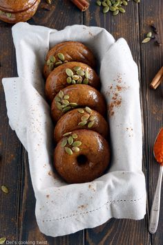 Moist vegan pumpkin spice donuts covered with a simple cinnamon glaze. Baked, not fried, they are an irresistible special fall treat! #vegandonnuts #pumpkinspice #fall #pumpkinspicedesserts #easydonutsrecipe Vegan Pumpkin, Pumpkin Recipes, Fall Recipes, Pumpkin Spice, Vegan Recipes, Cooking Recipes, Classic Donut Recipe, Donuts Vegan, Donuts Beignets