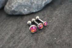 Red Fire 16G Opal Forward Helix Piercing, Triple Helix Earring, Tragus Piercing Jewelry, Cartilage Stud, Conch Earring, Tragus Stud, Cartilage Barbell, Conch Piercing